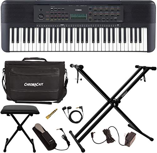 Yamaha PSR-E273 61-Key Portable Grand Piano Keyboard Kit - Includes: Keyboard Bench, Musician Gear Bag, Headphones, Stereo Plug Adapter, Keyboard Stand, Power Adapter & Sustain Pedal