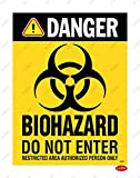 LEPPO Biohazard Do Not Enter Restricted Area Safety Warning Sign Self Adhesive Laminated Poster Use for Industrial, Hospital & Many More Places - Combo Pack (9 X 12 inch) (6 Pc Qty, BHZ-1)