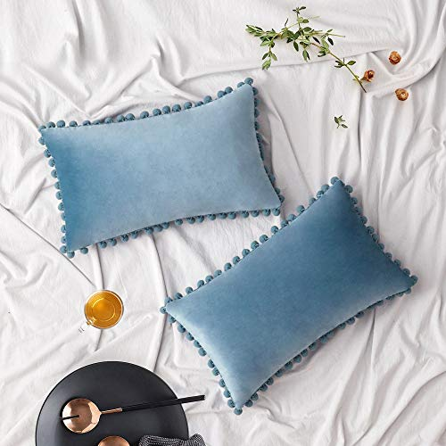 Woaboy Pack of 2 Velvet Throw Pillow Covers Pompom Decorative Pillowcases Solid Soft Cushion Covers with Poms Square Cojines for Couch Living Room Sofa Bedroom Car 12x20inch 30x50cm Light Blue