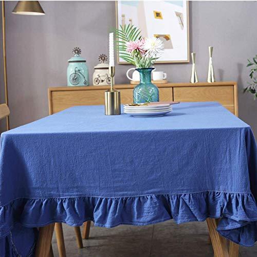 JLYZB Ruffle Trim Katoen Stof Tafeldoek, Hotel Tafelkleed Vintage Flounces Huishoudelijke Tafelkleed Voor Keuken Restaurant Partij Picknick Gebruik-wit 140x300cm (55x118inch)