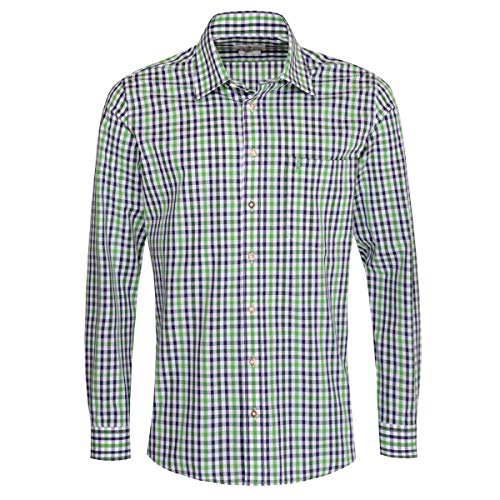 Almsach Herren Trachtenhemd Regular-Fit Trachten-Mode traditionell-kariert s-XXL viele Farben, Größe:L, Farbe-Zweifarbig:Hellgrün/Tanne