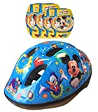 Disney-K865507 Mickey Mouse Casco, Coderas y Rodilleras para Bicicleta, Color Rojo, 36 (Stamp K865507)
