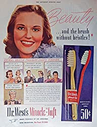 Image: Dr. West's Miracle Tuft Toothbrush, print ad. Full Page Color Illustration (animal bristle troubles ended forever...) Original Vintage 1939 The Saturday Evening Post Magazine Print Art