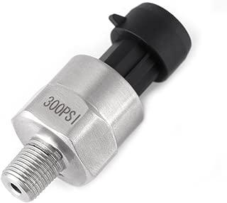 Akozon Sensor de presión de acero inoxidable, transmisor 1/8'' NPT DC 5V, para compresor de aire, aceite,agua,cerámica(300PSI)