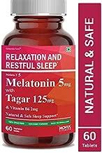 Carbamide Forte Melatonin 5mg with Tagara 125mg Sleeping Aid Pills for Deep Sleep | Non Habit Forming Sleep Supplement – 60 Veg Tablets