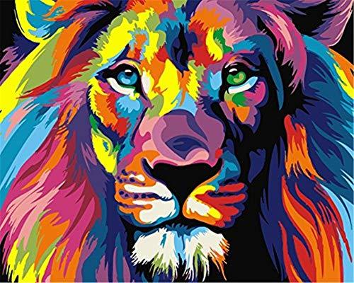 YEESAM ART Neuerscheinungen Malen nach Zahlen für Erwachsene Kinder - Farbe Löwenkopf Tier Lion Head 16 * 20 Zoll Leinen Segeltuch - DIY ölgemälde ölfarben Weihnachten Geschenke