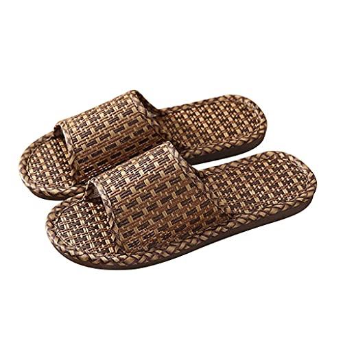 YXCKG Pantofole Intrecciate in Rattan, Ciabatte Pantofole Casual in Lino da Donna E da Uomo Pantofole Piatte Aperte, Pantofole da Casa Supporto per Arco da Esterno per Interni
