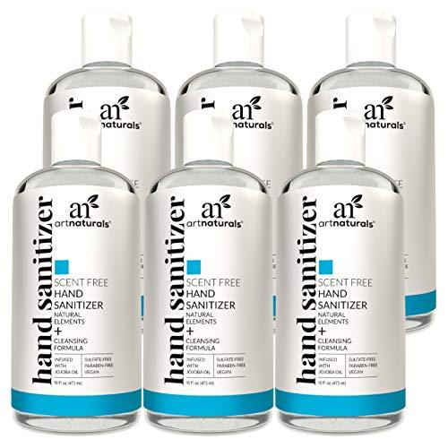Artnaturals Hand Sanitizer Gel Alcohol Based (6 Pack X 16 Fl Oz / 473 ml) Infused with Jojoba Oil, Aloe Vera Gel & Vitamin E - Unscented Fragrance-Free Sanitizer