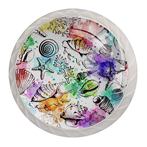 Perillas de gabinete de cocina Perillas decorativas redondas Gabinete Cajones de armario Tirador de tocador 4PCS Conchas de colores Patrón de concha de estrella de mar