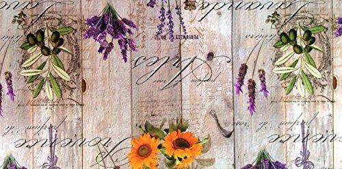 toile cirée nappe table au mètre PROVENCE bois floral BB80 taille SÉLECTIONNABLE en carré rond OVAL - Bariolé, 110 cm rund