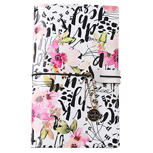 Travelers Notebook Refillable Journal - Blank Pages Sketchbook Daily Note, Faux Leather Assorted Flower Printing Cover, Multi-Pocket 4 Rubber Bands Good for Writing, Drawing as a Gift for Girls