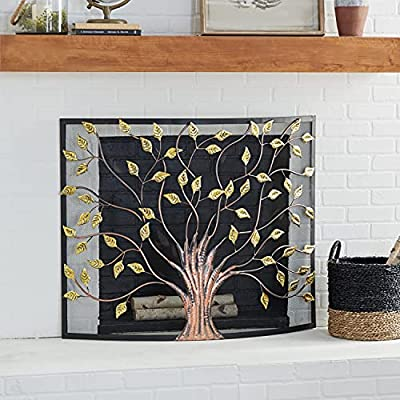 """Deco 79 Lovely Traditional Metal Fire Screen, 33"""" H x 39 L, Textured Black and Gold from Deco 79"""