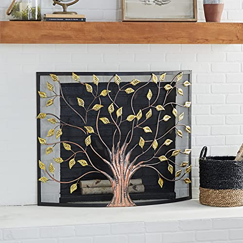 Deco 79 Lovely Traditional Metal Fire Screen, 33' H x 39 L, Textured Black and Gold
