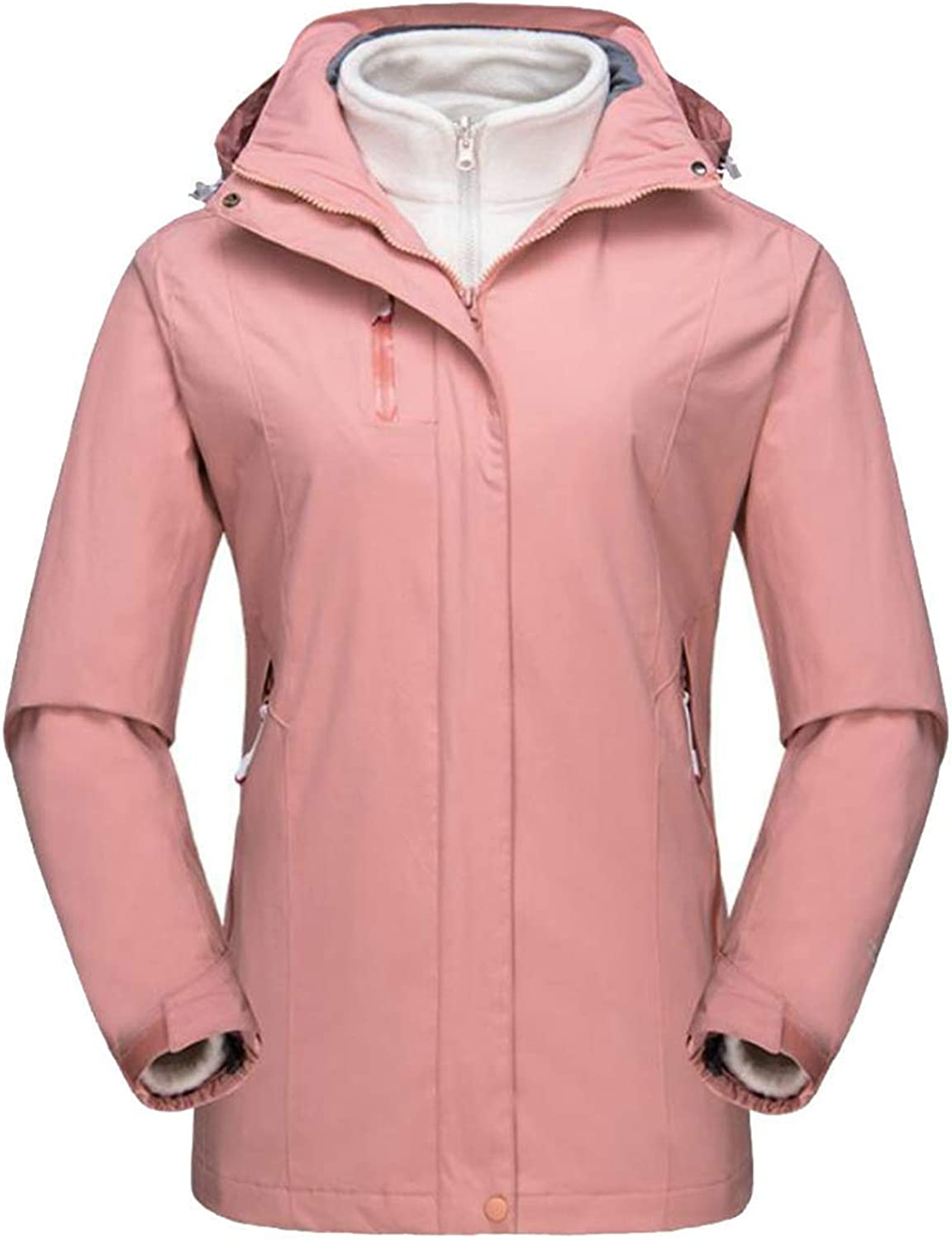 Joe Wenko Women's Hiking Outdoor Winter Fleece Hoodie Warm Rain Parka 3in1 Ski Coat