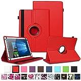 NAUC Tablet Schutzhülle für TrekStor SurfTab xintron i 10.1 Tasche Tablettasche Hülle mit Standfunktion 360° drehbar Kunst-Leder Cover viele Universal Tablethülle Hülle, Farben:Rot