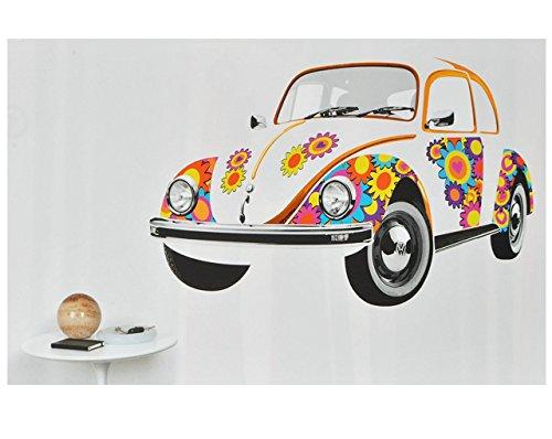 alles-meine.de GmbH 19 TLG. Set XXL Wandtattoo - Mind. 1,4 m * 0,8 m - Auto VW / Volkswagen Käfer Beetle - Classic Flower Power Blumen schwarz bunt - Wandsticker Fahrzeug Autos A..