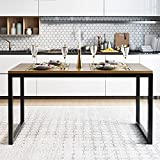 Amolife 45 inches Wooden Dining Table for 2 to 4, Rectangular Industrial and Stylish Design for Kitchen, Living Room and Office with Heavy Duty Metal Frame Computer Desk (Table Only)