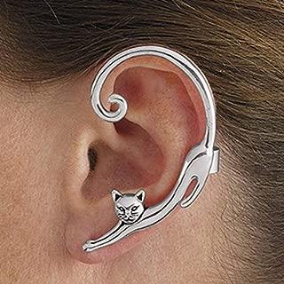 Single Piece Punk Style Gold Silver Plated Cat Post Earring With Ear Cuff Rock Animal Black Stud Earring Women 2019 Ear Wrap