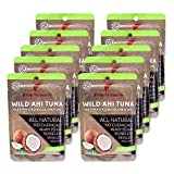 Premium Tuna Keto Snacks - No Carbs Wild Ahi Tuna in Coconut Oil (Pack of 10) Japanese Grade...