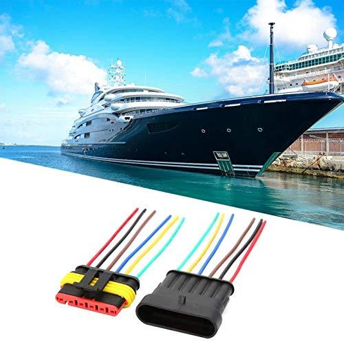 Conector eléctrico Enchufe Conectores de alambre impermeables 2 juegos de alambre AWG marino para conexiones de alambre Equipo eléctrico (6P)