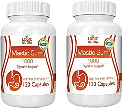 Logic Nutra Mastic Gum 1000 mg per Serving Supports Gastrointestinal Health Digestive System, Immune and Oral Wellness Pylori Plex – Supports Stomach Duodenal Non GMO Gluten Free (2 Bottles 240 Count)