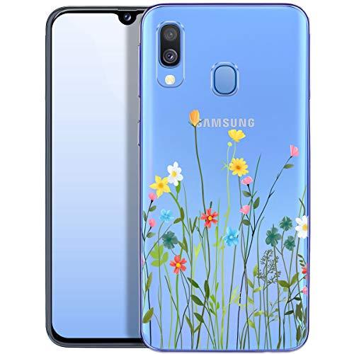 QULT Handyhülle kompatibel mit Samsung Galaxy A40 Hülle transparent mit Motiv dünn Schutzhülle durchsichtig Hülle für Samsung A40 A405FN Blumenwiese