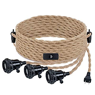 Triple Pendant Light Cord Kit with Independent Switch Hemp Rope Vintage Hanging Lighting Cord Fixture Compatible with E26 for Industrial DIY Projects Decoration