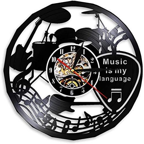 Kit de batería Música Disco de Vinilo Reloj de Pared Arte Decoración de la habitación del hogar Juego de Regalo de músico Idea para Amantes de la música Reloj LP de 12 Pulgadas Negro