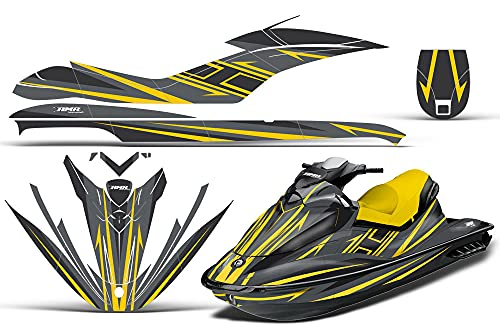 AMR Racing Jet Ski Graphics kit Sticker Decal Compatible with Sea-Doo GTI 2006-2010 - Shocker Can-Am Yellow Gray