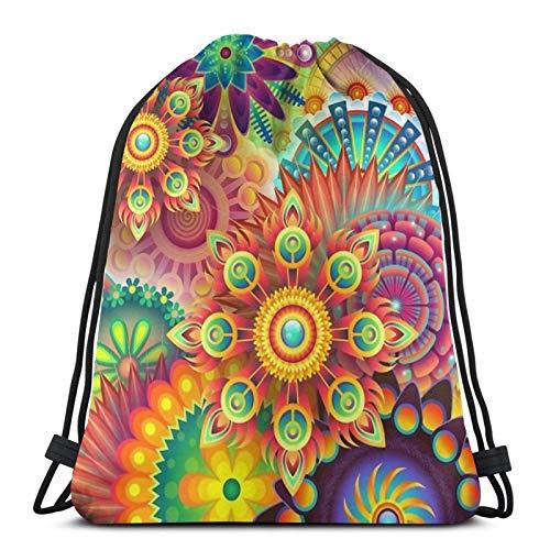 XCNGG Bolsa de gimnasia Bolsa con cordón Bolsa de viaje Bolsa de deporte Mochila escolar MochilaPsychedelic Spiritual Trippy Art Drawstring Bags Gym Bag,Drawstring Backpack Sports Gym Bag,Waterproof S