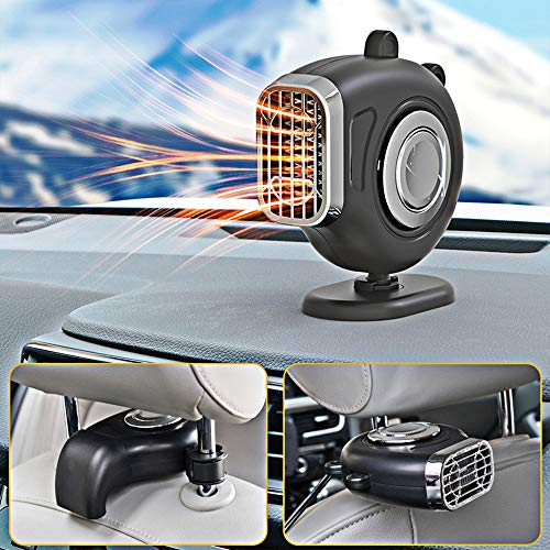 JIEPOLLY Auto Heizlüfter 12V 150W Auto Heizung Defroster mit 360 Grad Drehhalter, Schwarz