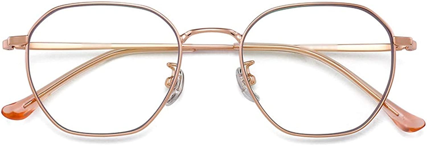 bluee Light Blocking Glasses Β Titanium Radiation Glasses Flat Light Computer Men and Women Tide Ultra Light Personality Simple ZHAOSHUNLI (color   pink gold)