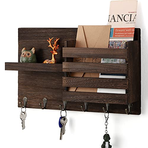 Terby Wall Mounted Mail Organizer Key Holder, Rustic Wooden Mail Sorter for Wall with 6 Metal Hooks and 1 Floating Shelf Decorative Wall Mail Storage Rack for Entryway, Hallway, Brown, Medium