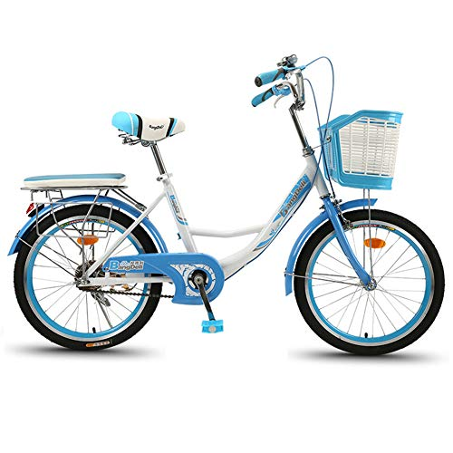 LUCKYYAN Women Bicycle with Basket, Adults Bike, 1-Speed, Women's Step-Through Hybrid Alloy Beach Cruiser,Blue,20 Inch