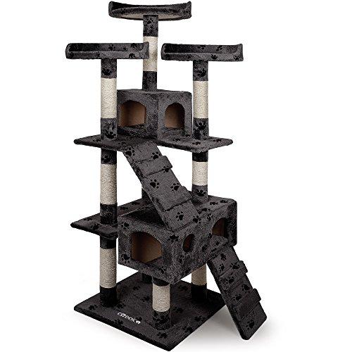 Deuba Arbre à Chat 175 cm Gris avec Motif Pattes Griffoir pour Chats avec 3 Plateformes 2 niches Poteau en sisal