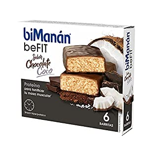 BiManán beFIT - Barritas de Proteína Sabor Chocolate Coco, para Tonificar tu Masa Muscular - Caja de 6 unidades
