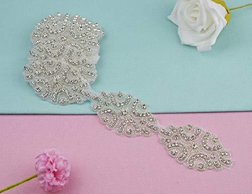 Astonish 1 Yard Handgemachte freie Kristallstrassapplikationen Strass Trim Eisen-Auf NäHen Handwerk für Brautkleider Braut Sash Gürtel