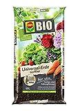COMPO BIO Universal-Erde für Zimmerpflanzen, Gemüse, Obst und Kräuter, Torffrei, Kultursubstrat, 15 Liter, Braun