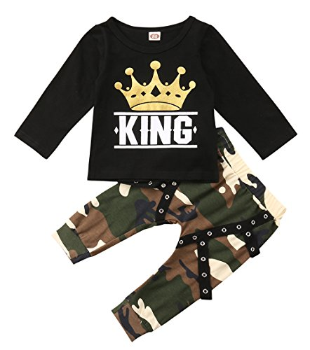 Ma&Baby Peuter Baby Jongen Kleding Koning Korte Mouw Zwart T-Shirt +Camo Broek Outfits Tops Set