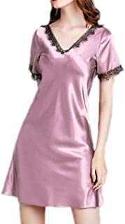 2 pcs,Silk Cloth Nightdress, Ladies Short-Sleeved Nightdress, Summer V-Neck Design Nightwear, Casual Home wear, Polyester Material, Comfortable and Soft to wear (Color : Pink, Size : S)