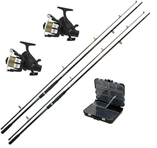 G8DS® Karpfen-Angel-Set: 2 Angelruten Karpfen Ruten 12 ft. 2,75 lbs. Carbon + 2 Angelrolle Carprunner EG40 + 1 Karpfen Zubehör-Set 170 tlg