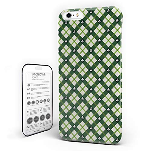 iPhone 6 Case/iPhone 6s Case St. Patrick's Day Design Hard Plastic PC Ultra Thin Protective Phone Case Cover Compatible iPhone 6/6s (4.7 inch) Celtic Quilt Cultural Checkered with Clovers