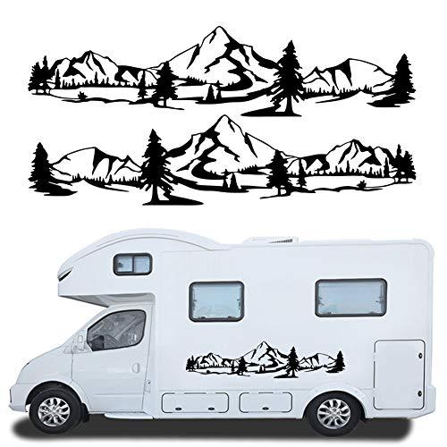 Mioloe Wohnmobil Wohnwagen Aufkleber 2 x Berge Umriss Schweller Gebirge mit Wald Abenteuer Urlaub wandern Camping ca 150cm (Schwarz)