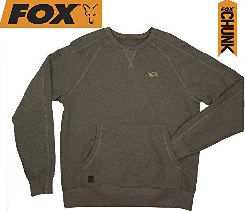 Fox Chunk Crew Pouch Sweatshirt Green Marl Pullover, Angelpullover, Angelbekleidung, Pulli für Angler, Angelpulli Chunk Crew Pouch Sweatshirt Green Marl Pullover, Größe:XL