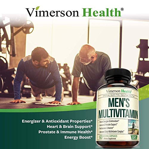 Men's Daily Multimineral Multivitamin Supplement. Vitamins A C E D B1 B2 B3 B5 B6 B12. Magnesium, Biotin, Spirulina, Zinc. Antioxidant Properties, Immune Health. 60 Capsules 5