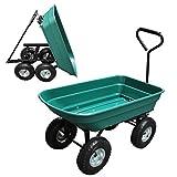 Helo Kippwagen grün mit 300 kg Tragkraft und Luftreifen (Kipplast 150 kg), Garten Transportkarre...