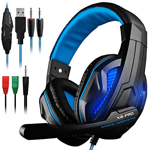 DLAND 3.5mm Wired Noise Isolation Gaming Headphones with Mic,LED Light for Tablet PC, Cellphone, PS4 and New Xbox. - Volume Control, Bass Stereo(Black & Blue)