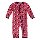 Kickee Pants Little Girls Print Coverall with Zipper - Red Ginger Aliens with Flying Saucers, 12-18 Months