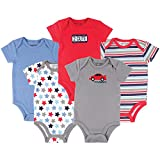 Luvable Friends Unisex Baby Cotton Bodysuits, Car, 0-3 Months