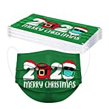 【Shipping from US!!!】3Ply Adults Disposable Face_Masks Merry Christmas Santa Wear Face_Mask Sunglasses 2020 Print Face Bandanas Breathable Adjustable Protective Mouth Covering,Men Women Outdoor(10pc)